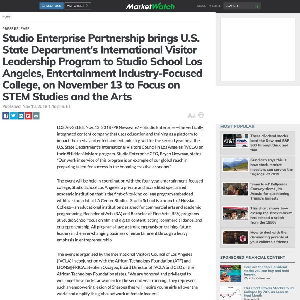 Studio Enterprise State Department Partnership Screenshot